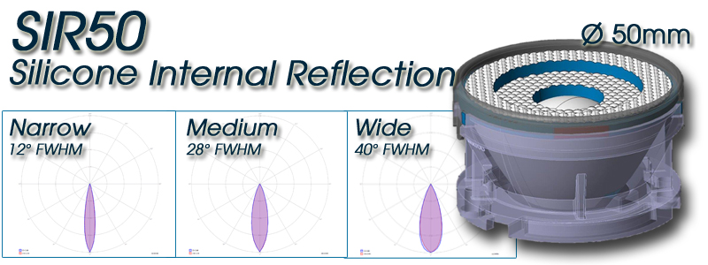 SIR50 Silicone Internal Reflection 50mm diameter - Optimized for COB LEDs systems with LES ranging 6mm to 9mm diameter
