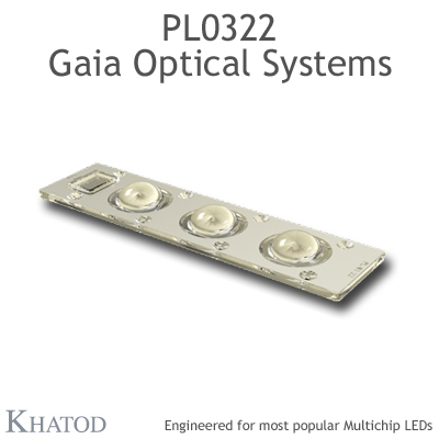 PL0322 GAIA Linear Lens-Array Optical Systems - 90° FWHM - 195,74mm x 50,82mm side - 14,00mm height
